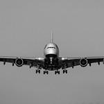 Black & White of An A380 Bearing Down on YVR thumbnail