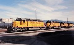 Union Pacific SD40-2 locomotives at San Bernardino in 1992 (Tangled Bank) Tags: union pacific train railroad railway north american emd locomotive sd402 california 1990s 90s cajon pass summit