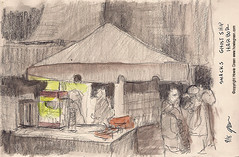Ghost Ship Harbor snack tent sketch (Howie Green) Tags: ghost ship harbor haunted house uss salem sketches plein air painting life drawing