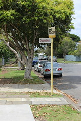 Bus stop at Doomben Station, Brisbane (philip.mallis) Tags: brisbane doomben busstop footpath hamilton