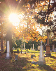So you run and you run to catch up with the sun but it's sinking,    Racing around to come up behind you again. (Rob Vigliotti) Tags: leaves missouri kansascity nature autumn sun unitedstates grave cemetery unioncemetery