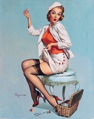 A Stitch in Time by Gil Elvgren, 1957 (gameraboy) Tags: gilelvgren pinup pinupart illustration painting vintage woman sexy astitchintime stockings thighhighs nylons 1957 1950s