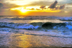 -Oh no! more waves? (Fnikos) Tags: sea water mar mare ocean wave ola multiple sun sunrise landscape seascape coast beach bay shore seashore sand light backlight contraluz sky cloud wind skyline outdoor
