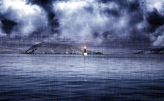 Light and rain ... (Julie Greg) Tags: sea texture colours light seascape nature nautre lighthouse clouds sky water croatia