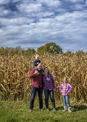 Éowyn_&_Logan_Year2_and_9_0022 (Andrew d'Entremont) Tags: family photo fall autumn corn maze blue sky clouds plaid kids kid toddler boy girl man woman blond blonde