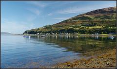 Lochranza, Isle of Arran, Scotland (stephen dutch BDPS) Tags: earlymorning lochranza arran isleofarran scotland argyll ayrshire sea water beach tide boats tranquil calm serene sunshine hills