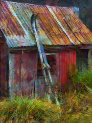 The Skiing Holiday (Steve Taylor (Photography)) Tags: skis lodge corrugatediron building roof colourful metal newzealand nz southisland canterbury christchurch grass corrugated texture