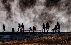 Tourists at Grand Prismatic Spring - Yellowstone National Park (superpugger) Tags: tourists wheelchair outdoors yellowstonenationalpark yellowstone grandprismaticspring wyoming nationalparksystem nationalparks steam hotspring hotsprings geothermal caldera lpugliares lawrencepugliares