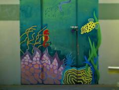 Left or right (Dreaming of the Sea) Tags: 2dwf door fish seahorse australia animal art coral seaweed streetart nikond5500 nikkor nikkor18200mm gimp wc coonarrbeach bundaberg