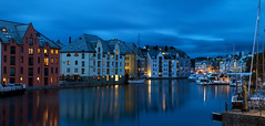 Ålesund at blue hour (smir_001) Tags: ålesund town møreogromsdal sunnmøre seaport artnouveauarchitecture shipping harbour havn jugendstil artnouveau sea canal water reflections architecture beautiful buildings norway norway2018 dusk bluehour cityscape nightscape night pano panorama canoneos7d august summer twilight