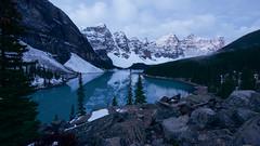 Lake Moraine (stephaniepluscht) Tags: rockpile pile rock canada 2018 banff national park alberta lake moraine louise snow mountains mountain dawn morning reflection