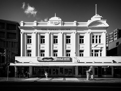 Grand Old Dame (ajecaldwell11) Tags: newzealand ankh blackandwhite white operahouse sky stateoperahouse wellington caldwell clouds light