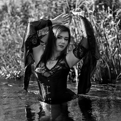 River dance (piotr_szymanek) Tags: minerwa blackandwhite portrait woman young skinnt water river outdoor transparent lingerie smile face eyesoncamera 1k 20f 50f 5k 10k