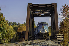 Job 1 at Greenville Junction (Thomas Coulombe) Tags: centralmainequebec cmq geac4400cw ac4400cw job1 freighttrain train bridge trestle greenvillejunction maine mooseheadsub