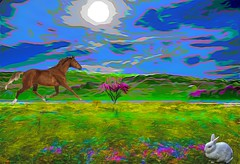 Landscape Dream (Rusty Russ) Tags: horse sky bunny rabbit green blue landscape colorful day digital art graffiti window flickr country bright happy colour eos scenic america world sunset beach water red nature white tree light sun cloud park summer city yellow people old new photoshop google bing yahoo stumbleupon getty national geographic creative composite manipulation hue pinterest blog twitter comons wiki pixel artistic topaz filter on1 tinder russ seidel artist outside
