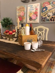 Autumn! Time for leggings, slouchy socks, big sweaters, pumpkin spice EVERYTHING and comfy quilts layered on the bed (JunqueDollBoutique) Tags: vintage brass miniatures rement barbie diorama playscale take out soup wine bread dining room dio