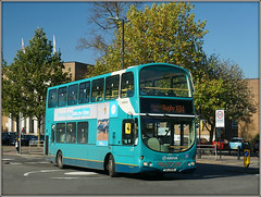 Arriva Midlands 4014 (Jason 87030) Tags: gemini turquoise arriva midlands plate 4014 northst street evreauxway town bus doubledecker warks warwickshire sunny blue shade roadside sony alpha a6000 ilce nex leicester lutterworth x84 trees flags transport cool