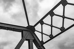 The Details of the  Bridge (jessicalowell20) Tags: newhampshire autumn blackandwhite bridge clouds contoocookriver detail fall henniker ironwork monochromatic newengland northamerica sky travel