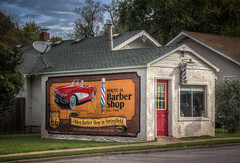 Route 66 Barber Shop (donnieking1811) Tags: missouri springfield route66 rte66 mural barbershop barberpole corvette building hdr canon 60d lightroom photomatixpro sky clouds trees exterior outdoors