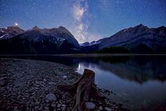 Milky Way and stump Mars Saturn (John Andersen (JPAndersen images)) Tags: alberta beaverpond kananaskis mars milkyway night saturn sky stars stump trees