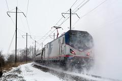 Pushing At Ronks (DJ Witty) Tags: railroad photography passengertrain locomotive rr electriclocomotive acs64 sprinter amtrak keystonecorridor snow