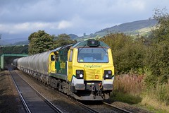 70006 approaches Bamford with the 6E08 Earles Sidings to Westburton p.s. 9th Oct 2014. (Dave Wragg) Tags: 70006 class70 freightliner 6e08 bamford hopevalleyline loco locomotive railway
