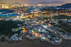 Night of Lau Fau Shan, Hong Kong (johnlsl) Tags: night laufaushan hongkong aerialshot landscape