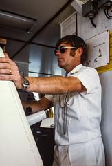 CPOCOXN Lenny Johnson Steers the Ship (Serendigity) Tags: royalaustraliannavy ship hydrographicservice slide enteringharbour specialseadutymen australia kodachrome ssd bridge personnel 35mm film hmasflinders queensland au