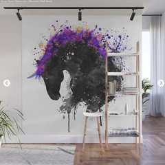 Horse Head Watercolor Silhouette Wall Mural (marianv2014) Tags: horse head watercolor silhouette black purple blue yellow watercolour watercolorpainting animalart animals aquarelle splashes splatters drippingpaint profile horseposter watercolorposter horses horseart horsepainting silhouettes wallart walldecor fineart animaldecor domesticanimals fortheroom animalposter art artwork whitebackground beautiful single decor animalsilhouettes illustration wall murals