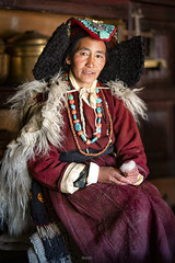 Her Name is Dolma (tehhanlin) Tags: india ladakh leh faces face portrait portraits people travel culture traditional fashion wear headdress ladakhi sony ngc woman women a7rm2 fe85gm peoplearoundtheworld journalism documentery asia tibet giavillage