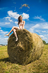 Young woman sit on a hay stack. (hoboton) Tags: love lovestory story date tenderness summer sun green yellow girl smile eyes happiness expected hay stack field justmarried relationship wedding newlyweds nature joy feeling weasel bliss horizon woman serenity wait smiling rendezvous dating outdoor relax haystack seat young waitting time wind windy expectation