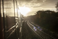 Intercity 125 (The Unfortunate Whale) Tags: intercity intercity125 class43 brmk3 rail railway britishrail gwr canon cardiff canon5dmk2 canon5dmkii cymru 50mm 50mmstm 5dmk2 5dmkii 35mm digital train transport sunrise highcontrast lensflare