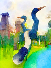 Watercolor crane's slide (Pejasar) Tags: waterlogue gatheringplace tulsa park watercolor art artistic slide oklahoma paintcreations painterly