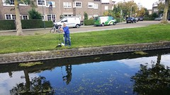 Fishing in a Haarlem Canal (Normann) Tags: netherlands haarlem fisherman canal