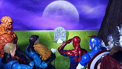 Goodbye to the original Marvel Legend (custombase) Tags: goodbye stanlee marvel legends figures headstone spiderman captainamerica thor fantasticfour reedrichards suestormrichards johnnystorm bengrimm toyphotography memorial
