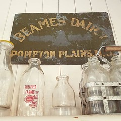 Today many area town museums are open to the public, all on the same day. Visiting the #pequannock township museum in #pomptonplains #nj #newjersey I noted the Beames Dairy sign. Interestingly one can note the 'Grade A' scratched out of the sign. Done bec (gardenstatepics) Tags: nj new jersey