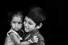 Brother and sister in hug with love and big happy smile (Nithi clicks) Tags: boy girl teen love brother children earring hug hugging kids little nose piercing nostril playing siblings sister tamilnadu culture
