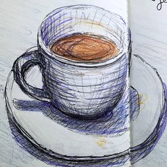 Nature morte. (cecile_halbert) Tags: café coffee dessin croquis esquisse crayondecouleur coloredpencil stilllife naturemorte
