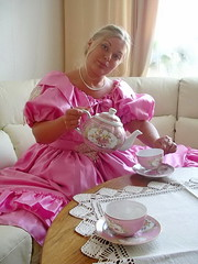 Tea for two (Paula Satijn) Tags: girl babe lady gorgeous stunning beautiful pink dress gown ballgown satin silk shiny blond blonde tea sexy sensual skirt cute sweet adorable hot lovely classy stylish elegant elegance