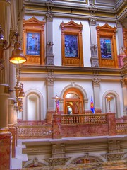 Denver Colorado - Colorado State Capitol Interior - Historic (Onasill ~ Bill Badzo) Tags: denver co civic center state capitol nrhp national register historic places interior district onasill colorado architecture hall murals rotunda dome statecapitol stainglass building window 229