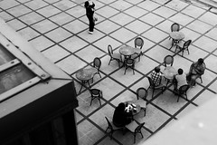 People and tables (margycrane) Tags: eating restaurant people blackwhite