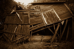 Not Much Longer (Dave Linscheid) Tags: barn farm rural country agriculture abandoned decay gravity age nostalgia history sepia door butterfield watonwancounty mn minnesota usa