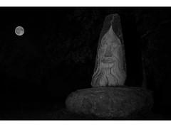 La nuit à la vallée des saints (Patrick Doreau) Tags: vallée saints statue culture sculpture celte bretagne carnoët doreau art nuit noctune night black white noir blanc lune moon