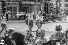 Waiting (Frankhuizen Photography) Tags: shertogenbosch netherlands 2018 woman vrouw eten tafel table street straat fotografie photographypeople black white zwart wit candid monochrome den bosch window short skirt rokje legs benen