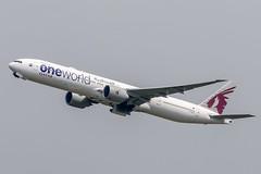 """Boeing 777-3DZ(ER)    Qatar Airways """"Onewolrd livery""""    A7-BAB (NguynQuangHuy) Tags: boeing b77w qatarairways oneworld doha takeoff sgn"""