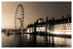 Sepia Toned London Eye (Andrew David Photos) Tags: londoneye london skyline wheel illuminate night buildings architecture countyhall londonatnight riverthames water river reflections light cities clouds londonskyline sepia photoeffects textured scratched nikon d3300 photoart fineartphotography creative toned cityoflondon urbanscapes londonuk andrewdavidphotos flickr dxophotolabs picture londonnightlife ilovelondon
