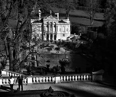 Linderhof Palace (SM Tham) Tags: europe germany bavaria linderhofpalace kingludwigii madkingludwig palace statelyhome mansion architecture building rococo gardens terrace steps trees balustrade statuary urns topiary parterre pond waterfeature monochrome blackandwhite