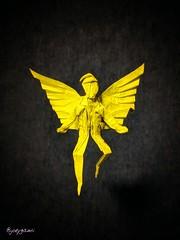 Angel (Joe Adia) (joeygami) Tags: pride lgbt flying craft art paper design sculpture angelsinamerica wings yellow angel origami