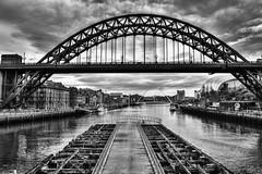 Tyne Bridge, Newcastle-upon-Tyne (dlsmith) Tags: bridge river newcastle newcastleupontyne rivertyne bw byn monochrome monochromatic gritty england hdr photomatix gateshead milleniumbridge sage baltic