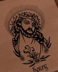 Traditional Jesus (Aperrytattooer) Tags: traditional tattoo traditionaltattoo coleman skull bert grimm bertgrimm colemangirl colemanskull